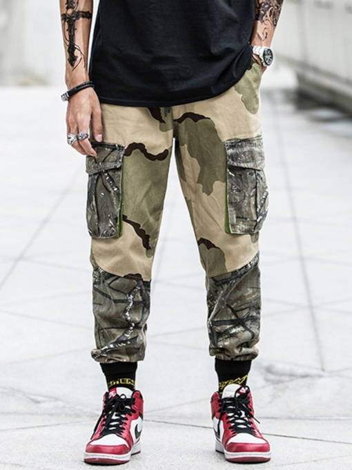 Loose Print Overall Camouflage Men's Casual Pants