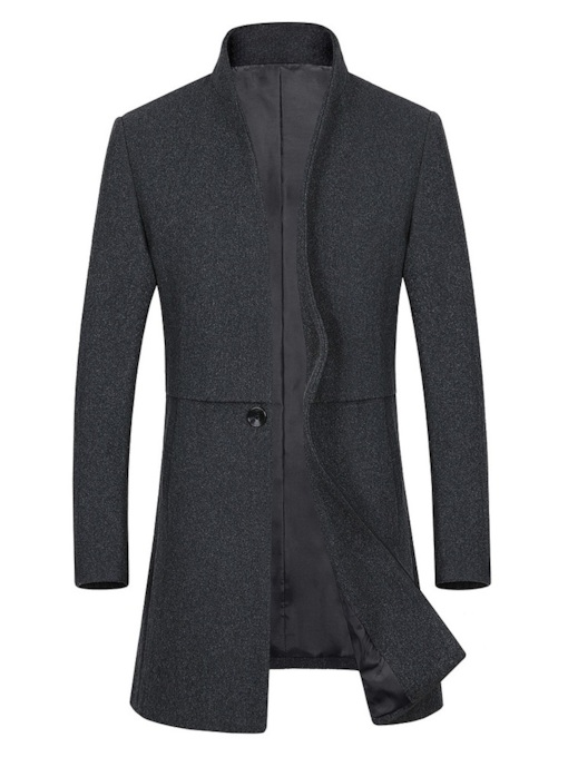V-Neck Standard Slim Plain Men's Woolen Coat
