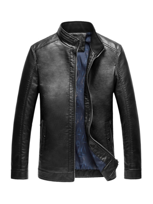 Stand Collar Plain Zipper Men's Leather Jacket