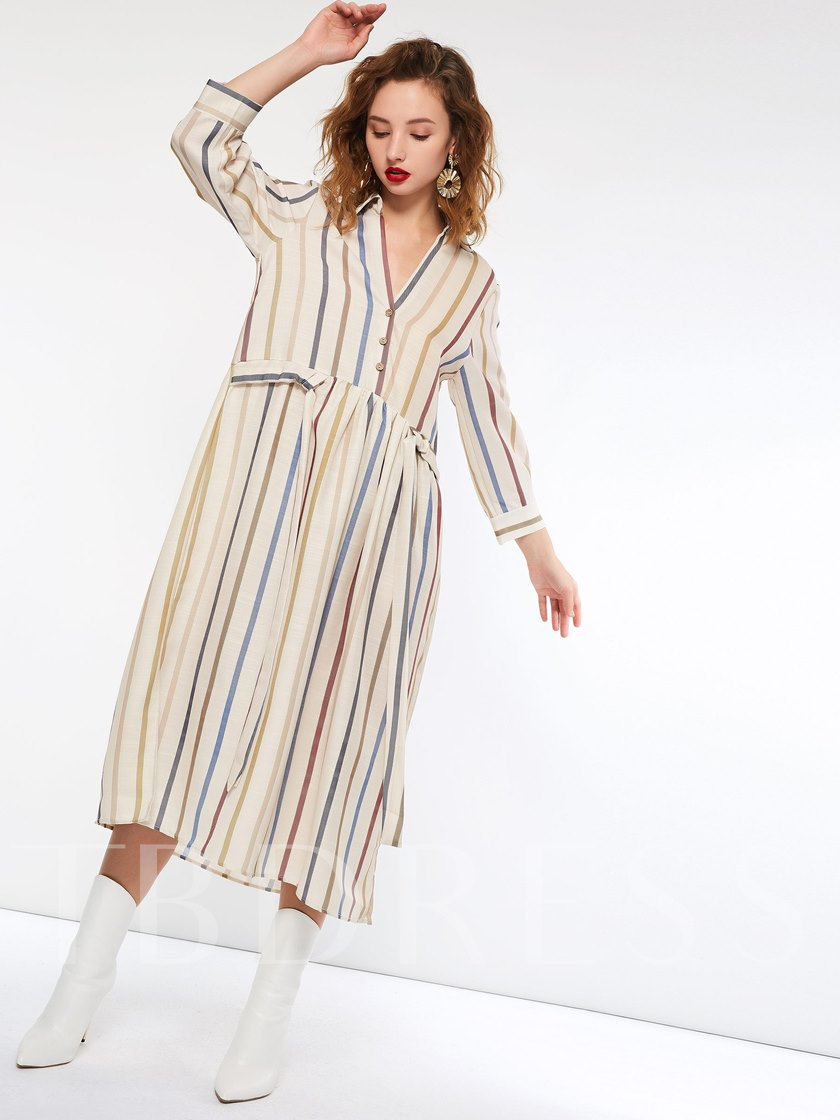 Single-Breasted Stripe A-Line Women's Long Sleeve Dress