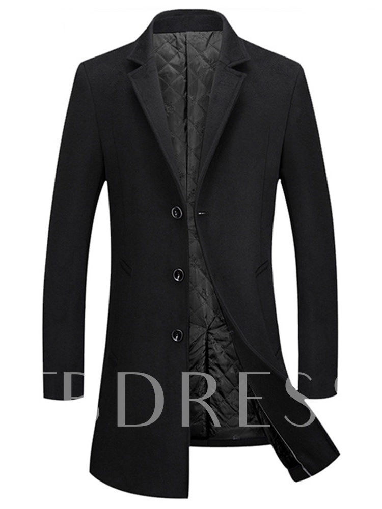 Mid-Length Plain Notched Lapel Slim Men's Woolen Coat