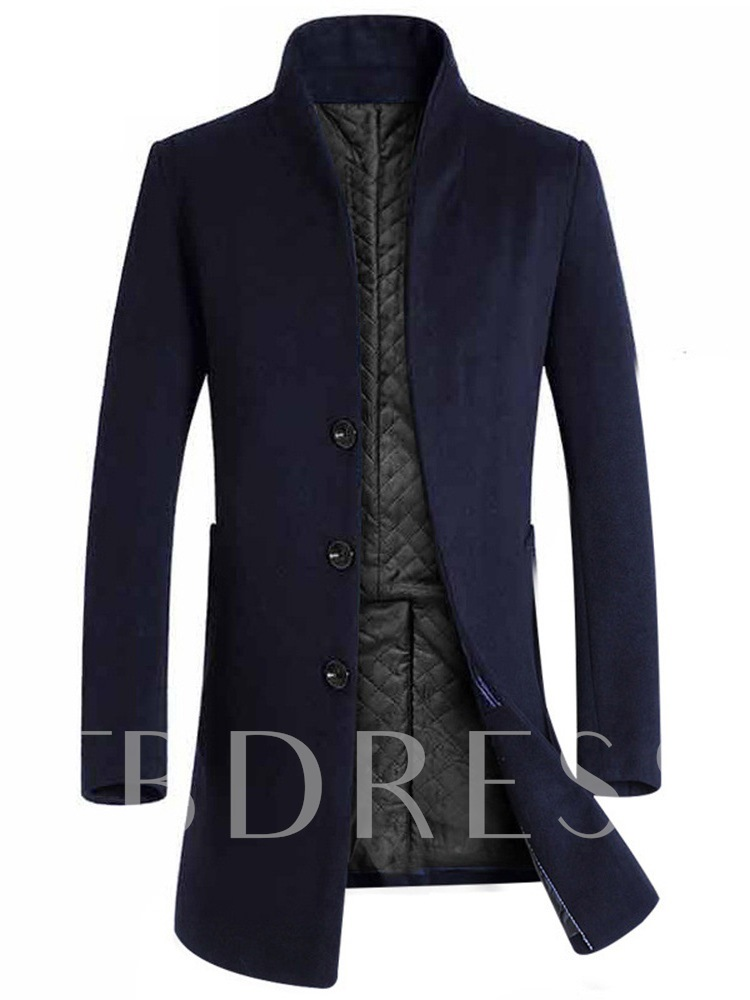 Slim Mid-Length Stand Collar Plain Single-Breasted Men's Woolen Coat