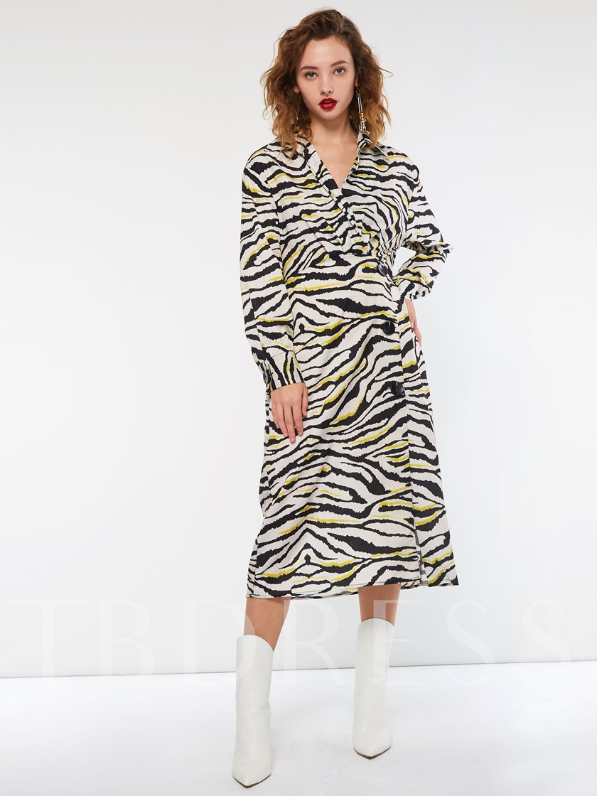 Zebra-Stripe Long Sleeve Button Women's Maxi Dress