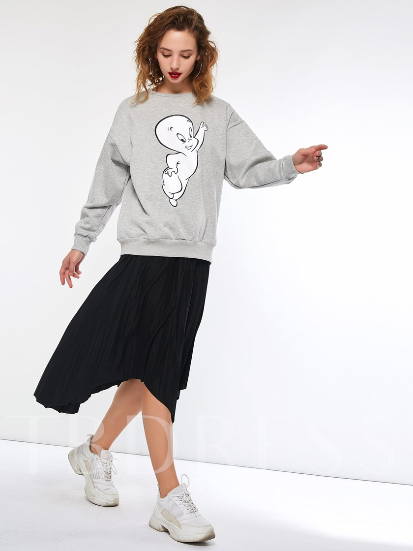 Loose Cartoon Print Pullover Women's Hoodie
