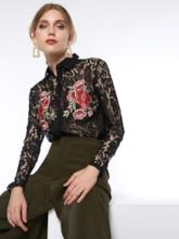 Floral Embroideried Hollow Lapel Women's Blouse