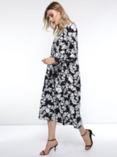 Floral Print Long Sleeve Women's Maxi Dress