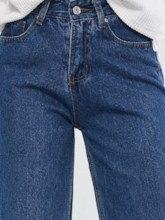 Plain Loose Zipper Wide Legs Women's Jeans