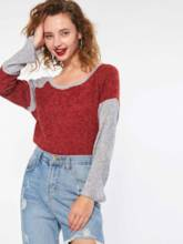 Loose Color Block Round Neck Pullover Women's Sweater
