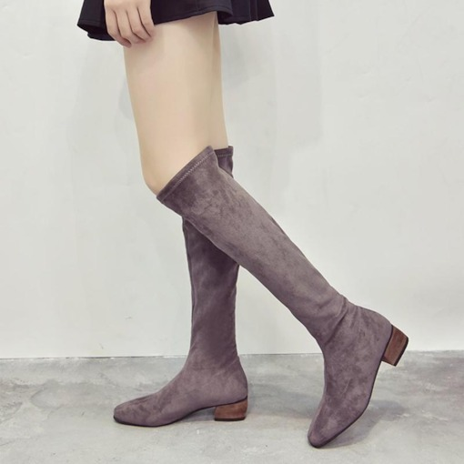 Square Toe Block Heel Plain Slip-On Chic Knee High Boots