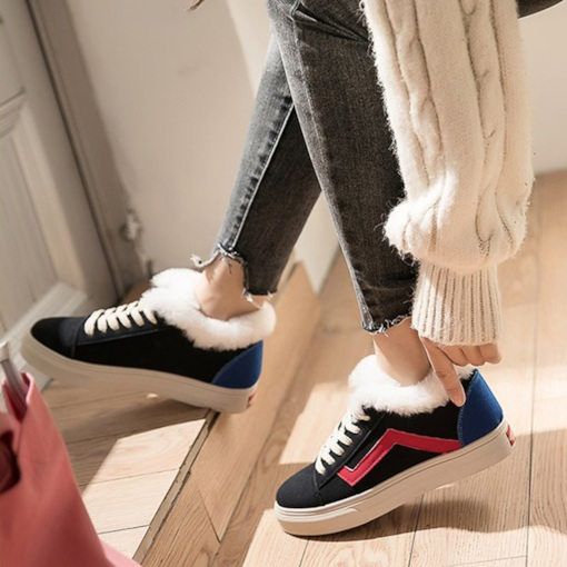 Round Toe Lace-Up Purfle Color Block Women's Sneakers