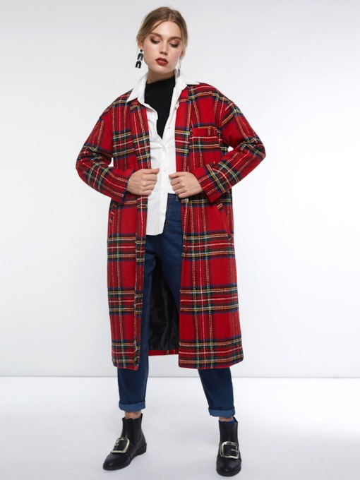 Straight Plaid Single-Breasted Mid-Length Women's Overcoat