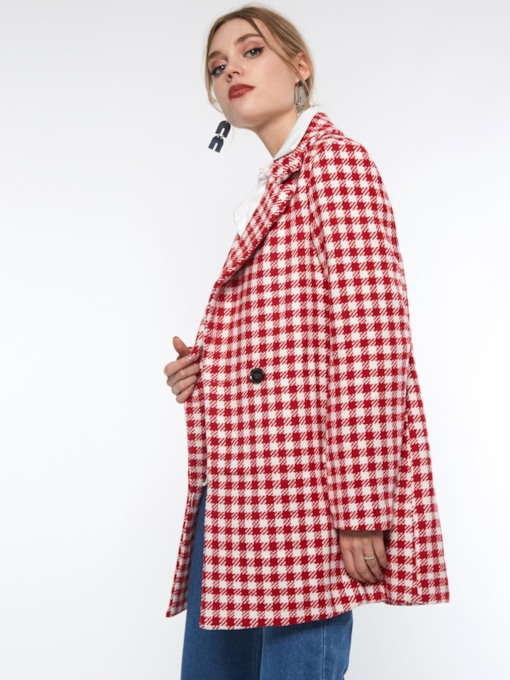 Notched Lapel One Button Plaid Long Sleeve Casual Women's Blazer