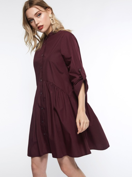 Button Stand Collar Casual Women's Day Dress
