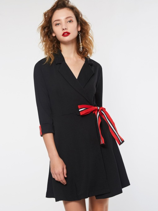 Bowknot Notched Lapel Women's Long Sleeve Dress
