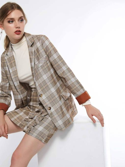 Plaid Single-Breasted Notched Lapel Nine Points Sleeve Spring Women's Blazer