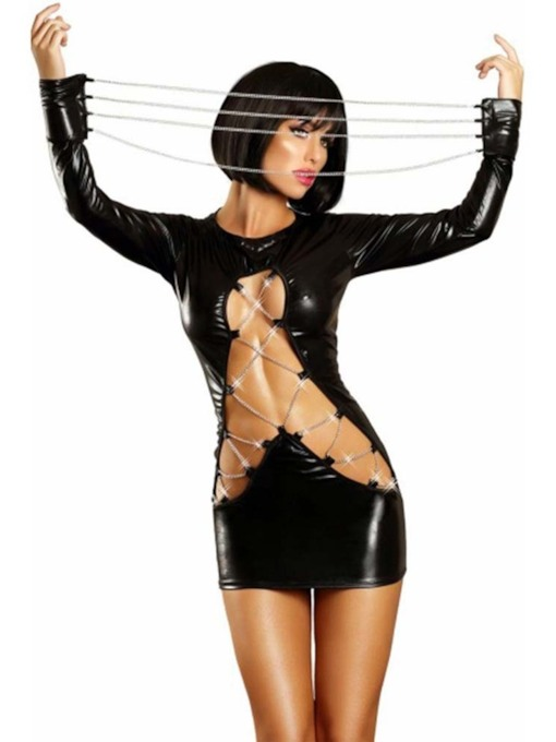 Hollow Long Sleeve Plain Patent Leather Sexy Costumes