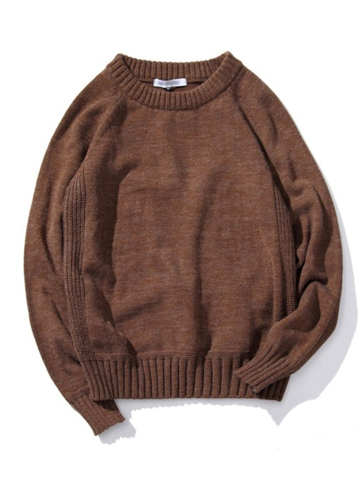 Plain Loose Pullover Round Neck Men's Sweater