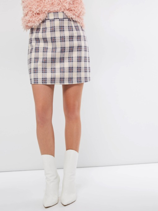 High-Waist Bodycon Plaid Women's Mini Skirt