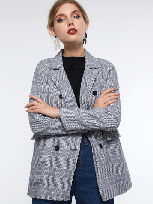 Long Sleeve Notched Lapel Double-Breasted Plaid Women's Blazer