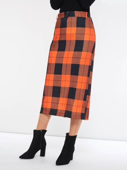 Mid-Calf Bodycon Split High-Waist Plaid Women's Skirt