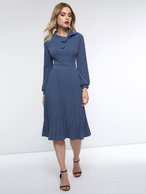 Pleated Plain Bowknot Women's Long Sleeve Dress