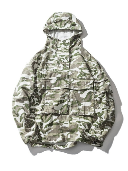 Hooded Loose Camouflage Print Men's Jacket