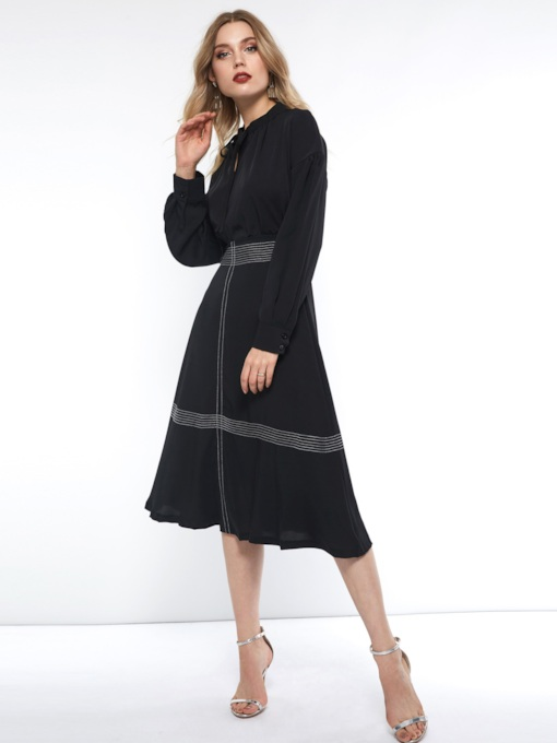 A-Line Stripe Lace Up Women's Long Sleeve Dress