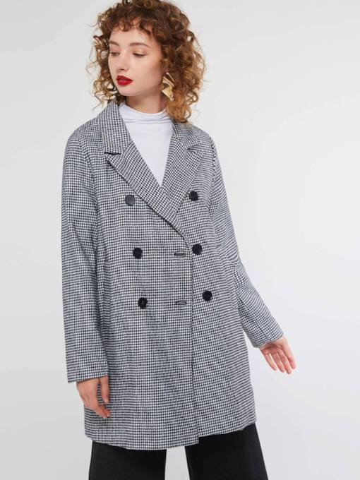 Houndstooth Double-Breasted Notched Lapel Women's Overcoat
