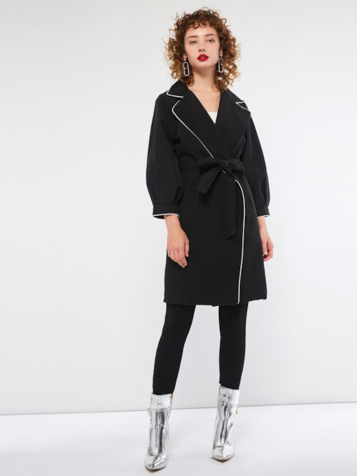 Loose Lantern Sleeve Lace-Up Fall Women's Overcoat