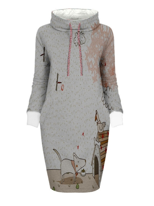 Pullover Print Stretchy Women's Long Sleeve Dress