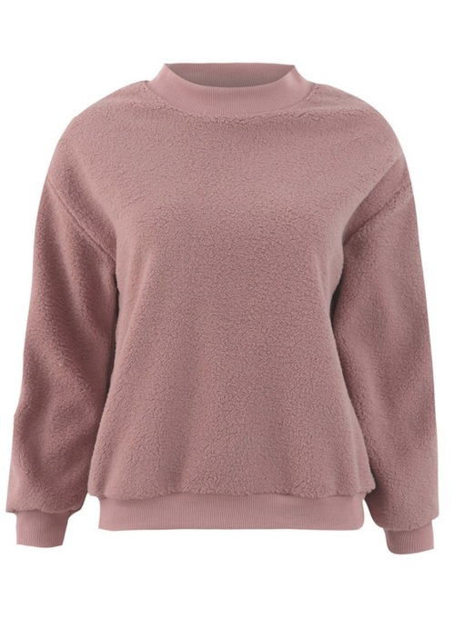 Fluffy Plain Stand Collar Women's Sweatshirt