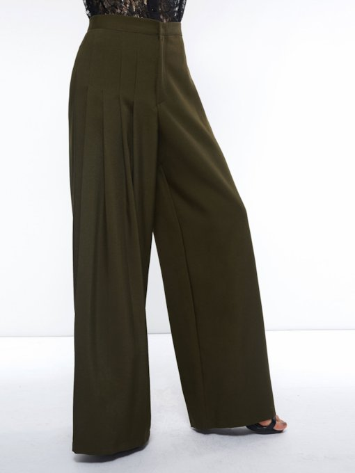 Paper Bag Loose Plain Zipper Wide Legs Women's Casual Pants