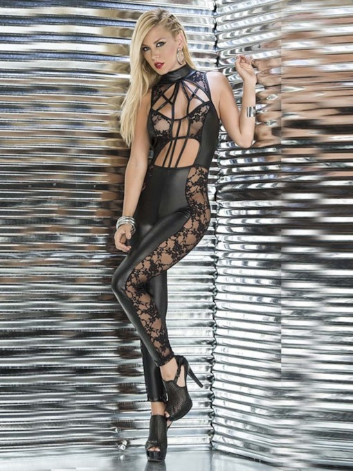 Lace See-Through Sexy Leather Bodysuit Clubwear