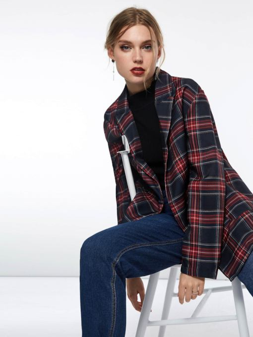 Double-Breasted Notched Lapel Plaid Women's Blazer