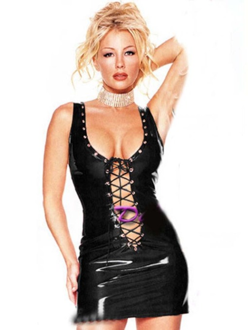 Lace-Up Backless Sexy Leather Chemise
