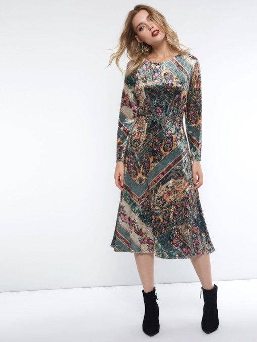 Floral Print Pleuche Women's Long Sleeve Dress