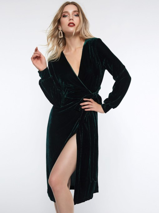 Velvet Lace-Up Women's Long Sleeve Dress