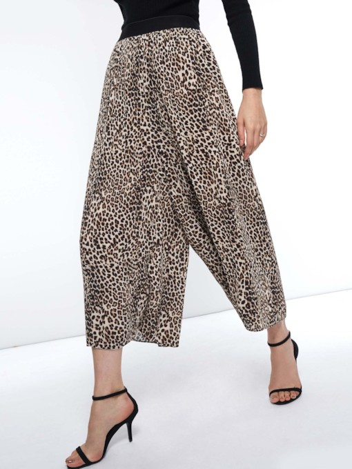 Elastics Leopard Loose Mid-Calf Women's Casual Pants