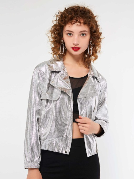 Lapel Plain Long Sleeve Women's Jacket