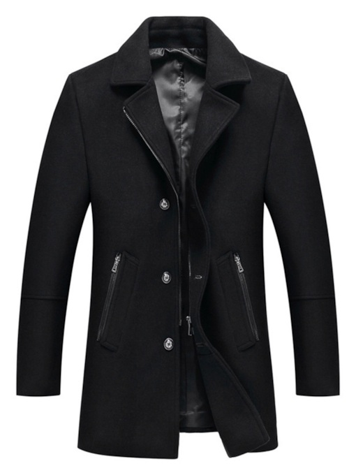 Notched Lapel Plain Slim Single-Breasted Men's Coat