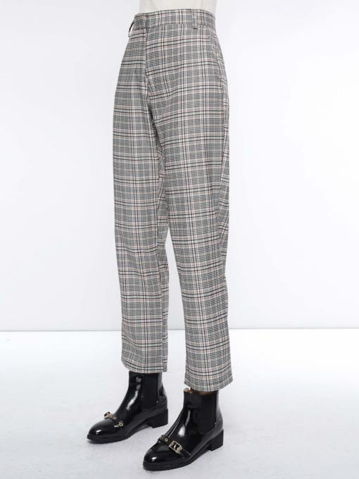 Plaid Loose High-Waist Women's Casual Pants
