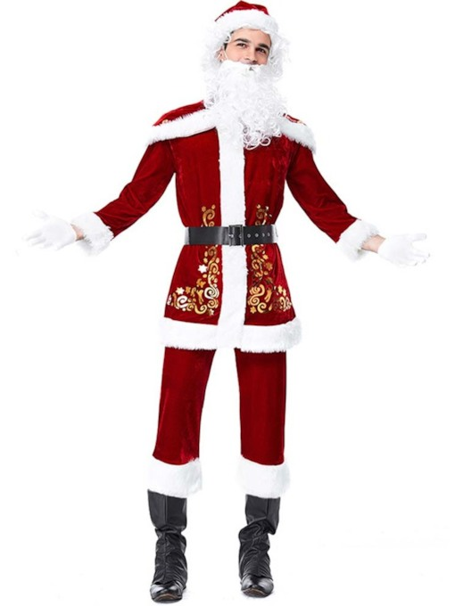 Embroidery Floral Polyester Christmas Costumes for Men