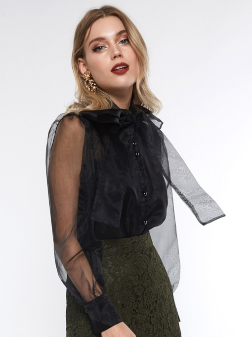 See-Through Plain Standard Women's Blouse
