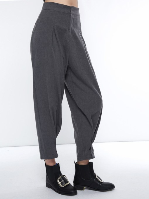 Paper Bag Loose Plain High-Waist Women's Casual Pants