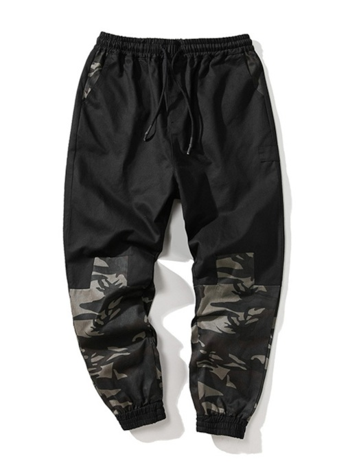 Camouflage Patchwork Overall Loose Men's Casual Pants