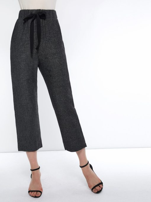 Plain Elastics Loose High-Waist Women's Casual Pants
