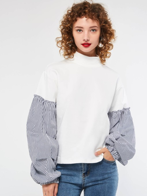 Lantern Sleeve Color Block Stringy Selvedge Standard Women's Blouse