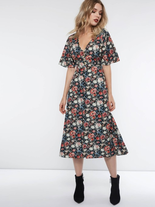 Floral Short Sleeve V-Neck Women's Maxi Dress