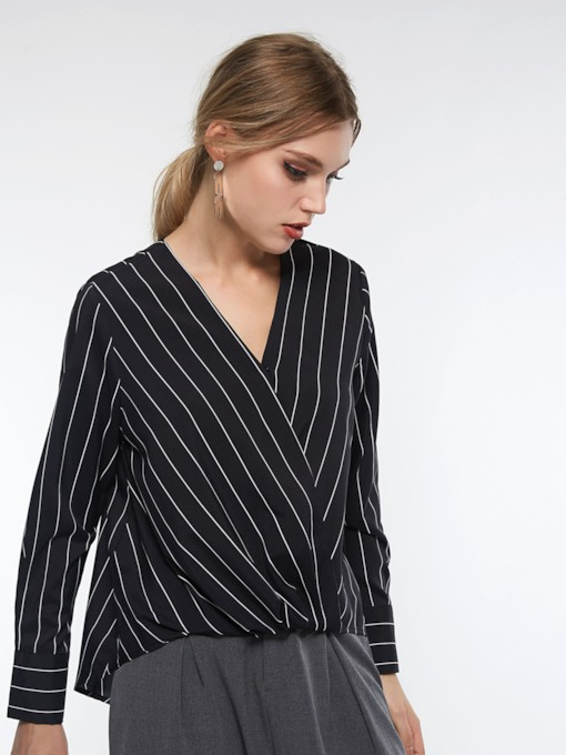 V-Neck Stripe Mid-Length Women's Blouse