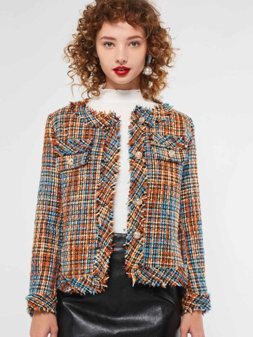 Color Block Round Neck Single-Breasted Women's Jacket